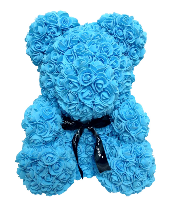 40 CM Cute rosy rose  bear made from soap flowers