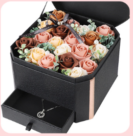 Soap Flowers Rose Gift Box with Necklace gift set