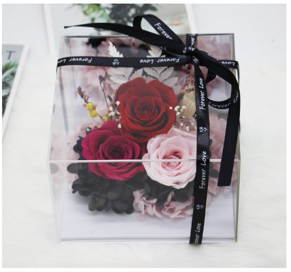 Triple Rose Preserved Flower Mirror Reflection
