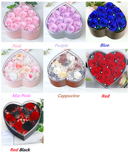 Exquisite Acrylic Heart Shaped Box Preserved Roses
