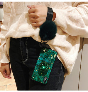 Glare Glass Marble Furry Protective Phone Cases