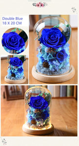 Preserved Everlasting Flower Glass Cover Box with Personal Engraving Available