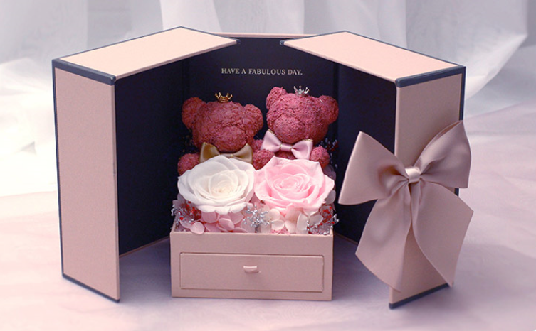 Preserved Flower mini bear/goose gift box with drawer to put small presents