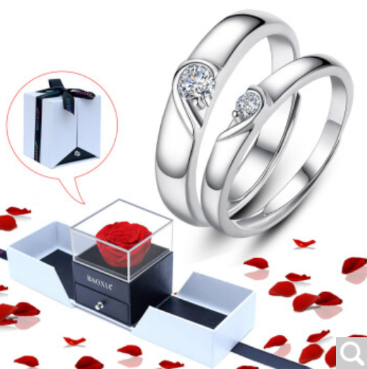 """ COMPLETE MY HEART "" Couple Ring w/ Free Rose Box"