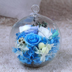 Nature globe flower garden preserve flowers with hanger and light