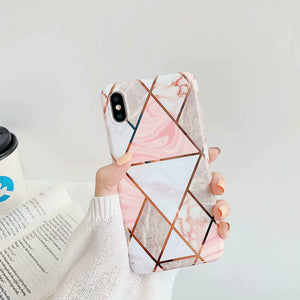 Golden shaped line marble phone cases