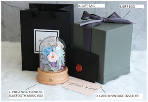 Eternal Preserved Flower Glass Cover Bluetooth Connectable Music Giftbox