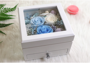 Everlasting Preserve Flowers gift box with pull out cabinets for accessories perfect for gifts