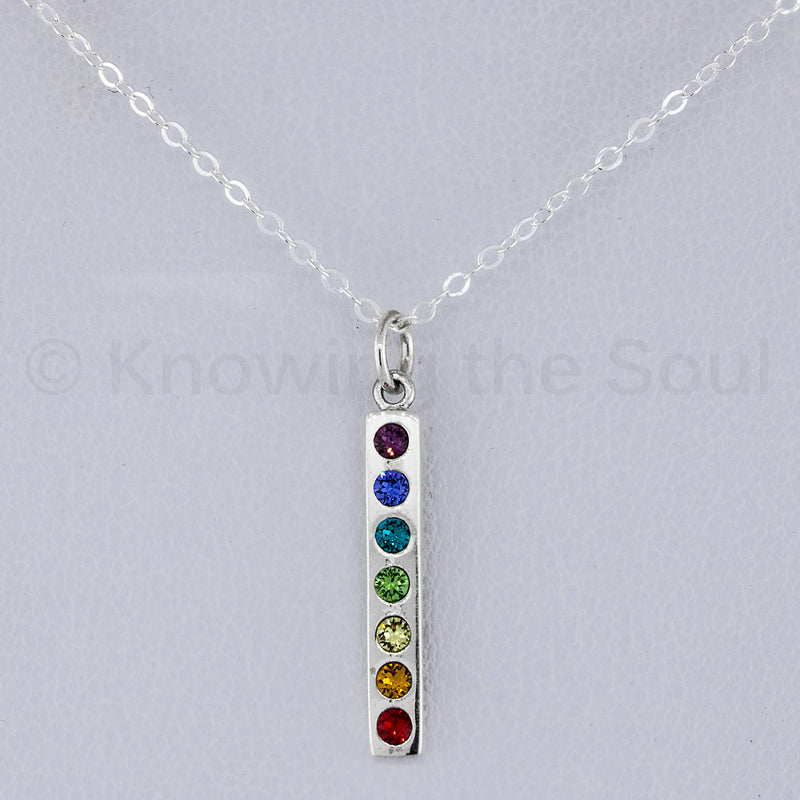 "chakra-blossom - Sterling Silver Chakra Pendant with Swarovski Crystals - Includes 18"" Neck Chain"