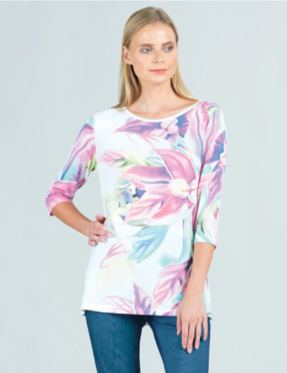 Clara Sun Woo Watercolor Floral Mesh Tunic