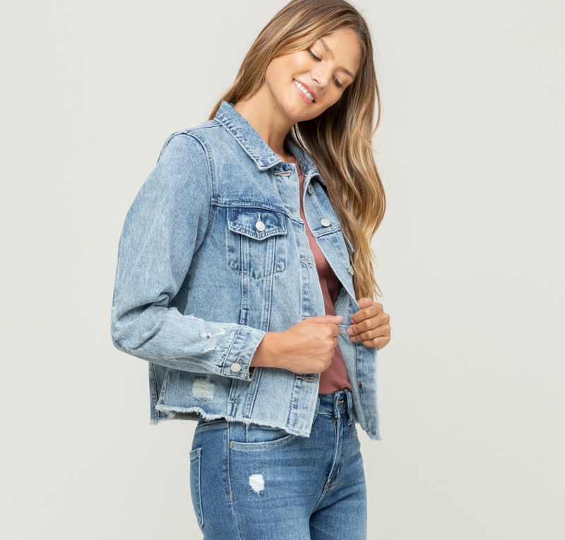 Vervet Acid Wash Crop Denim Jacket