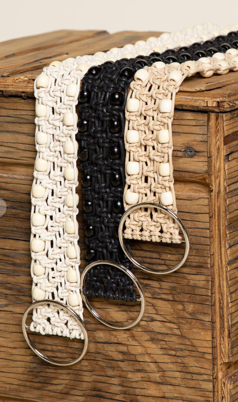 Twisted Beads Belt - Black