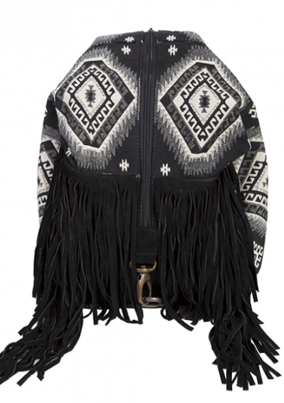 Skully Leather Fringe Backpack