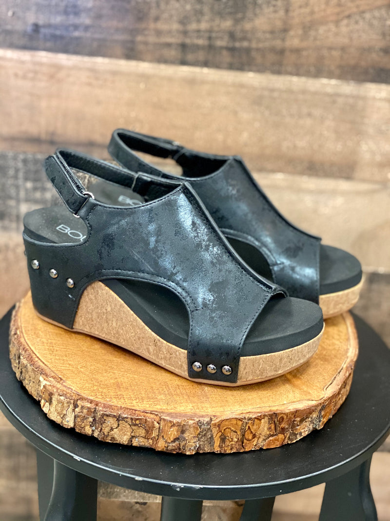 Carley - Black Metallic Wedge