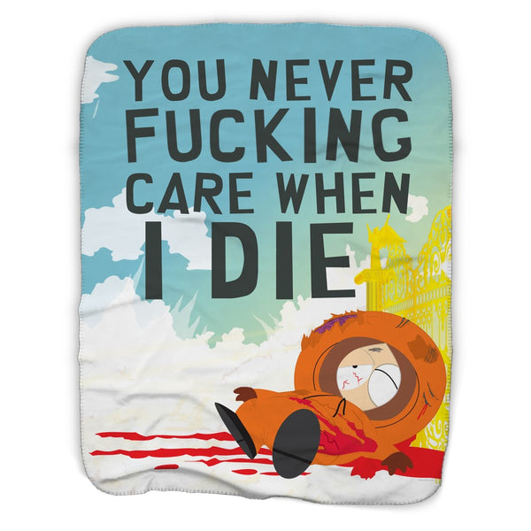 South Park Kenny You Never Care When I Die Sherpa Blanket