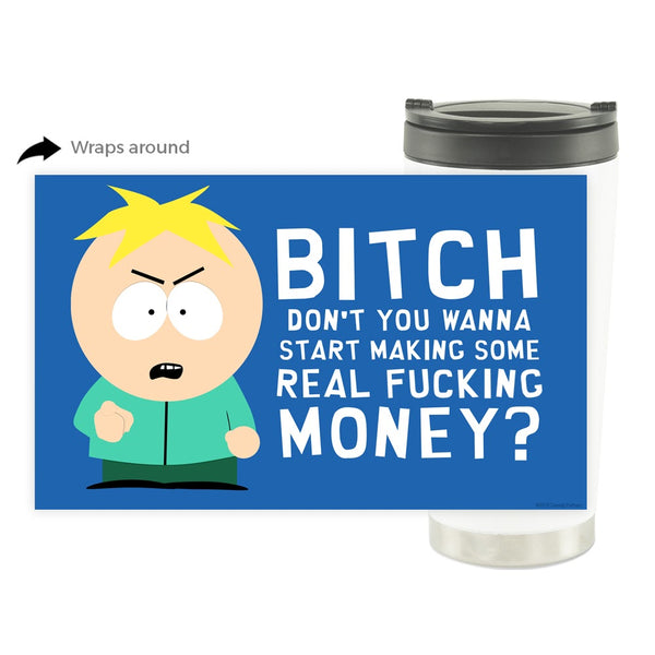 South Park Butters Make Real Money 16 oz Stainless Steel Thermal Travel Mug