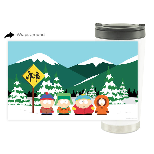 South Park Bus Stop 16oz Stainless Steel Thermal Travel Mug