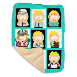 South Park Faces of Butters Sherpa Blanket