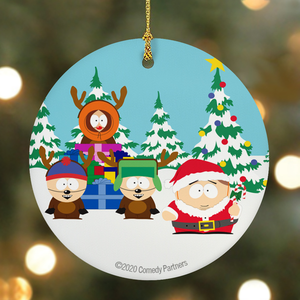 South Park Cartman Santa Round Ceramic Ornament