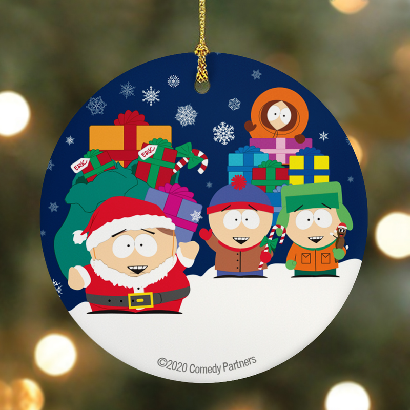 South Park Holiday Presents Round Ceramic Ornament