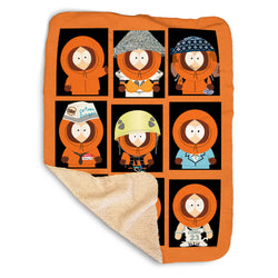 South Park Faces of Kenny Sherpa Blanket
