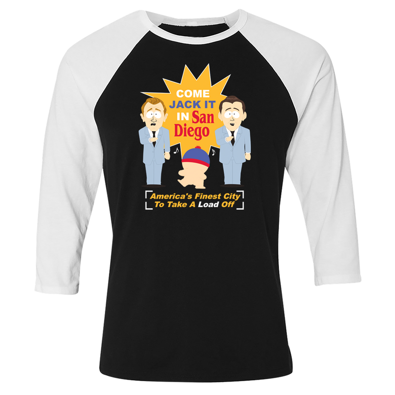 South Park Jack It In San Diego 3/4 Sleeve Baseball T-Shirt