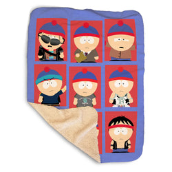 South Park Faces of Stan Sherpa Blanket