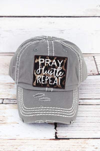 a873a704ffaab Pray Hustle Repeat  Distressed Gray with Leopard Baseball Cap.