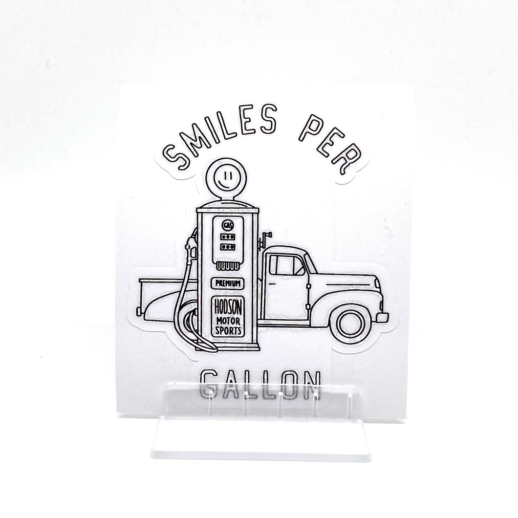 Smiles Per Gallon Sticker