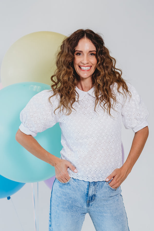 White Anglaise Balloon Blouse