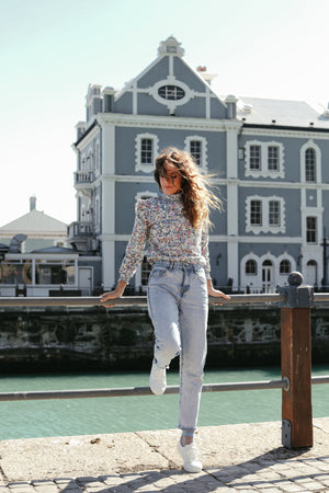 High Neck Pastel City Blouse