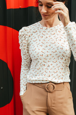 White Floral Puff Top