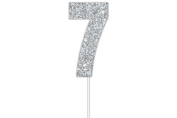 "Silver Glittery Number ""7"" Cake Topper"