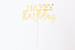 Gold Acrylic 'Happy Birthday' Cake Topper - Pop Roc Parties