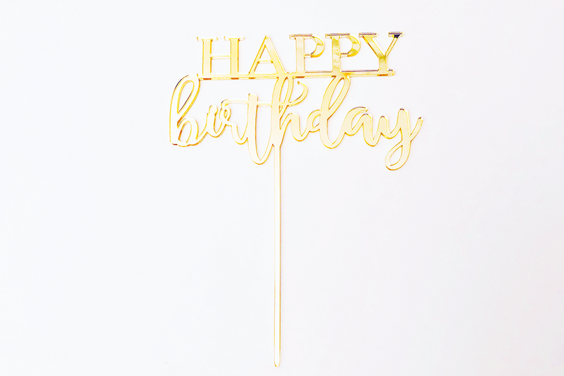 Gold Acrylic 'Happy Birthday' Cake Topper | Pop Roc Parties