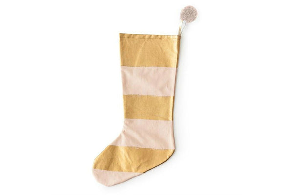Rosanna Pink & Gold Stripe Christmas Stocking | Pop Roc Parties