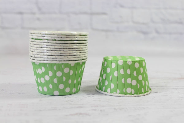 Green Apple Polka Dot Cupcake Cups - Pop Roc Parties