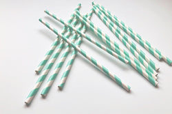 Aqua Stripe Paper Straws | Pop Roc Parties