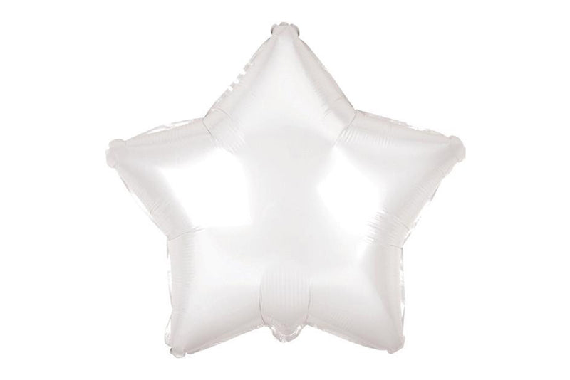 Large White Star Foil Balloon - Pop Roc Parties