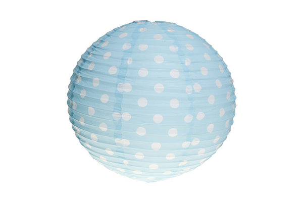 Baby Blue Polka Dot Round Paper Lanterns - Pop Roc Parties