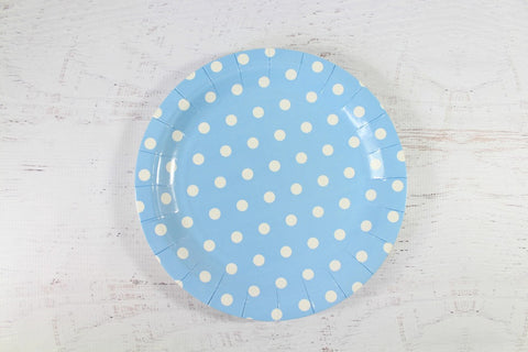 Baby Blue Polka Dot Paper Plates