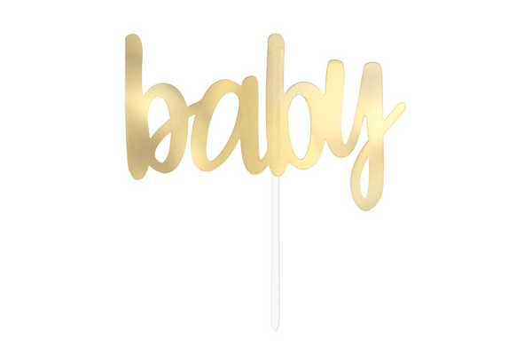 'Baby' Cake Topper - Gold - Pop Roc Parties