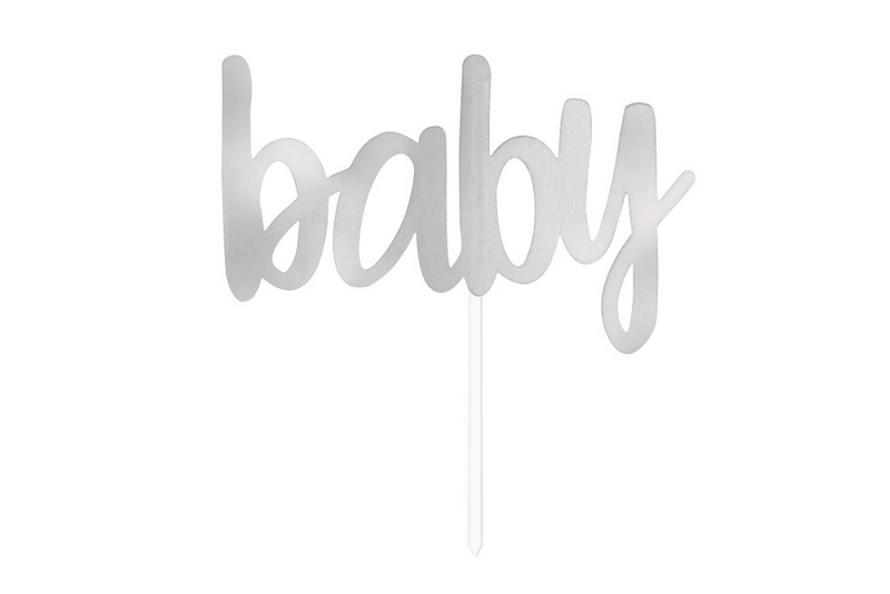 'Baby' Cake Topper - Silver | Pop Roc Parties