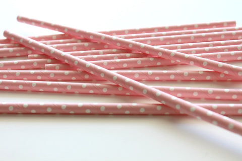 Baby Pink Solid Sweet Spotted Paper Straws