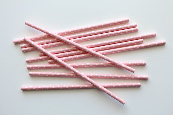 Baby Pink Solid Sweet Spotted Paper Straws - Pop Roc Parties
