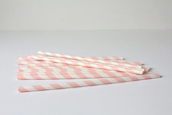 Baby Pink Stripe Paper Straws | Pop Roc Parties