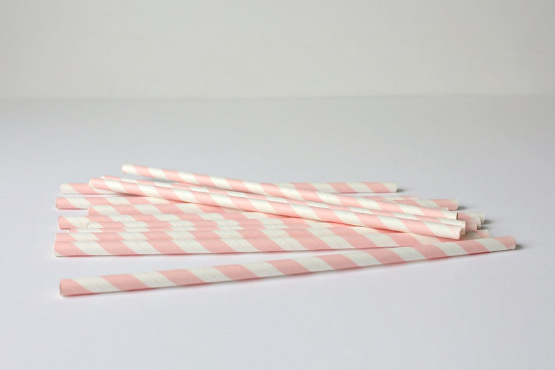 Baby Pink Stripe Paper Straws - Pop Roc Parties