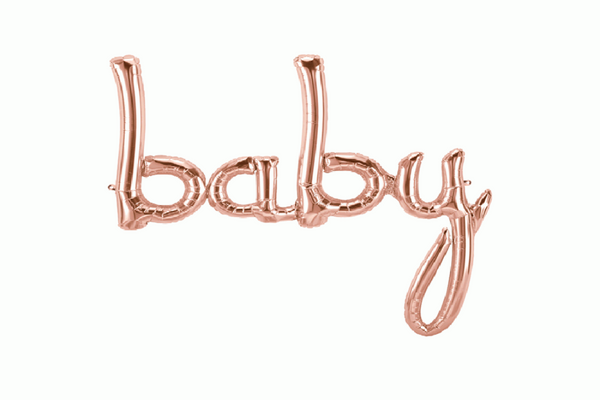 Rose Gold BABY Script Balloon - Pop Roc Parties