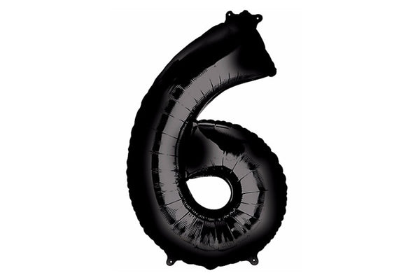 Black Foil Number '6' Balloon - 100cm - Pop Roc Parties