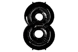 Black Foil Number '8' Balloon - 100cm | Pop Roc Parties